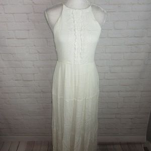 Lulus women's size L White Crochet High Neck Maxi
